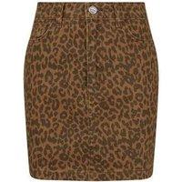 Girls Brown Leopard Print Denim Mini Skirt New Look