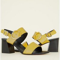 Yellow Premium Leather 2 Part Block Heels New Look