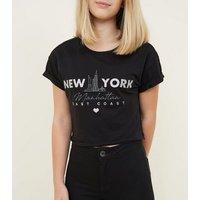 Girls Black Glitter New York Slogan T-Shirt New Look