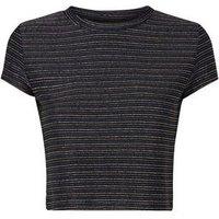 Cameo Rose Black Glitter Stripe Crop Top New Look