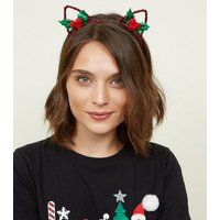 Dark Red Christmas Mistletoe Cat Ears New Look