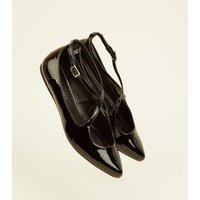 Wide Fit Black Curve Strap Pointed Pumps New Look