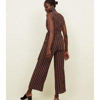 Cameo Rose Blue Glitter Stripe Wrap Jumpsuit New Look