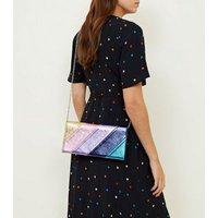 Rainbow Stripe Metallic Clutch Bag New Look