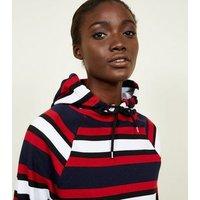 Navy Stripe Raglan Sleeve Hoodie New Look