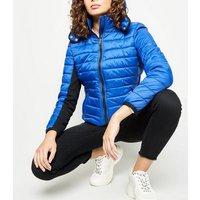 Blue Hooded Lightweight Puffer Jacket New Look