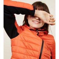 Orange Neon Hooded Lightweight Puffer Jacket New Look