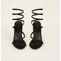 Black Suedette Twist Strap Heeled Sandals New Look