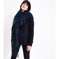 Black and Blue Check Longline Scarf New Look