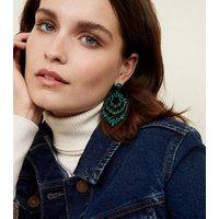 Dark Green Beaded Chandelier Earrings New Look