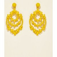 Yellow Beaded Chandelier Earrings New Look