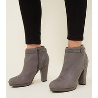 Grey Comfort Suedette Patent Trim Heeled Ankle Boots New Look