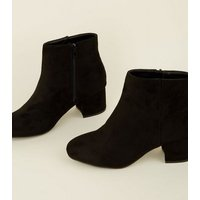 Girls Black Suedette Mid Heel Ankle Boots New Look