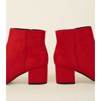 Girls Red Suedette Mid Heel Ankle Boots New Look