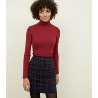 Black Check High Waist Tube Skirt New Look