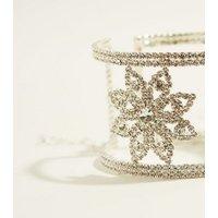 Silver Diamante Encrusted Cuff Bracelet New Look