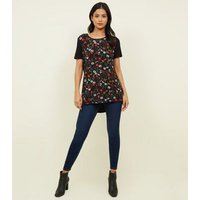 Apricot Black Floral Contrast T-Shirt New Look