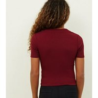 Girls Burgundy Button Placket Ribbed T-Shirt New Look