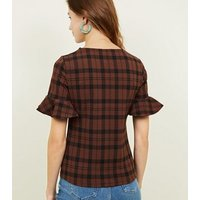 Brown Check Bell Sleeve T-Shirt New Look