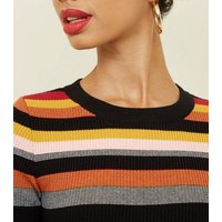Rainbow Stripe Crew Neck Jumper New Look