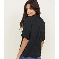 Black Pocket Front Boxy Utility Shirt New Look