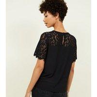 Black Lace Yoke Short Sleeve Top New Look