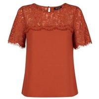 Rust Lace Yoke Short Sleeve T-Shirt New Look