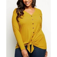 Curves Yellow Button Tie Front Top New Look
