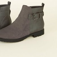 Wide Fit Grey Buckle Side Flat Ankle Boots New Look