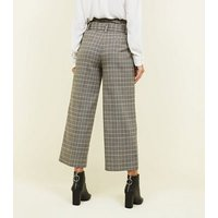 Stone Check Buckle Belt Wide Leg Trousers New Look