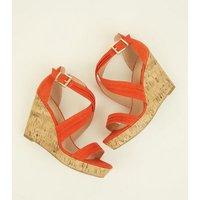 Wide Fit Orange Suedette Cross Strap Wedges New Look
