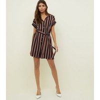 Navy Stripe Revere Collar Playsuit New Look