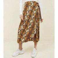 Mustard Snake Print Wrap Midi Skirt New Look
