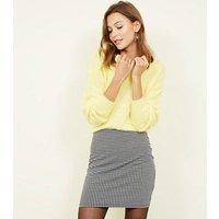 Black Houndstooth Tube Mini Skirt New Look