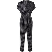 Black Mixed Spot Print Wrap Jumpsuit New Look