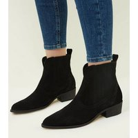 Black Premium Suede Western Ankle Boots New Look