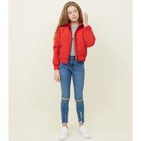 Red Ring Zip Padded Windbreaker New Look