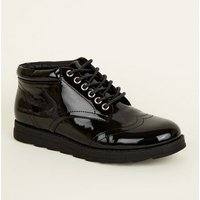 Girls Black Patent Lace Up Chukka Boots New Look