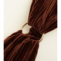 Brown Ribbed Velvet Ring Front Headband New Look
