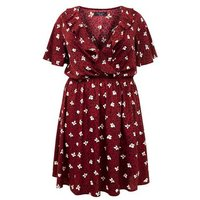 Curves Red Animal and Floral Print Ruffle Dress New Look