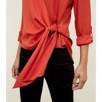 orange-tie-side-collared-wrap-top-new-look