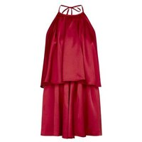 Cameo Rose Burgundy Satin Halterneck Playsuit New Look