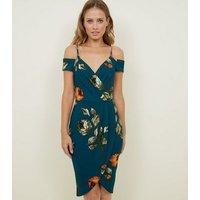 AX Paris Teal Floral Cold Shoulder Wrap Dress New Look