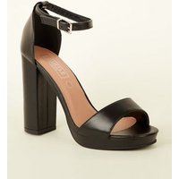 Black Platform Block Heel Sandals New Look