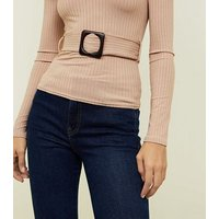 camel-ribbed-buckle-long-sleeve-top-new-look