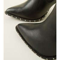 Wide Fit Black Leather-Look Studded Chelsea Boots New Look