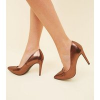 Bronze Metallic Pointed Courts New Look