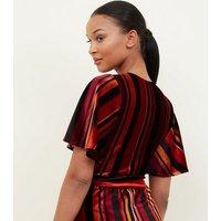 Black Multi Stripe Velvet Crop Top New Look