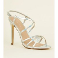 Silver Holographic Strappy Stiletto Sandals New Look