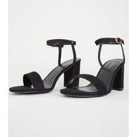 Black Suedette Two Part Block Heels New Look